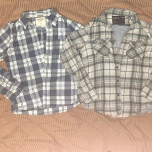 Ae & Af 2pc lot button down flannel shirts . NICE!